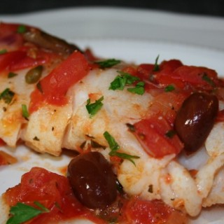 Cod with Tomatoes, Olives and Capers
