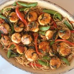 Hoisin Glazed Scallops on Vegetable Noodles-- a hit!