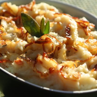 Easy Thanksgiving Side Dish: Parsnip Puree with Caramelized Onion and Fried Sage Leaves