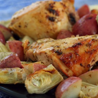 Roast Lemon Chicken Breasts with Artichokes and Potatoes