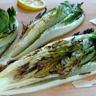 Grilled Romaine with Shaved Parmesan and Lemon Dressing
