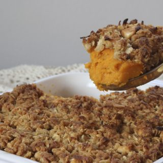 Whipped Sweet Potatoes with Pecan Streusel Topping
