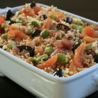 "Couscous with Edamame, Olives and Apricots For ""Mixed"" Families"