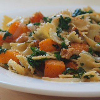 Farfalle with Spice-Roasted Butternut Squash, Kale and Walnuts