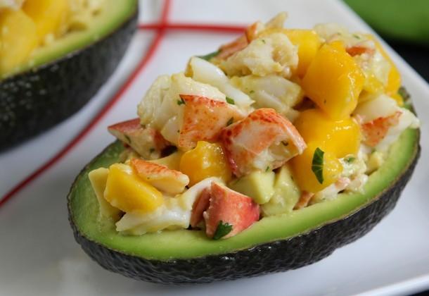 Diet Food Deluxe: Lobster Mango Salad in Avocado Cups