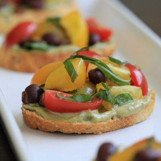 Tomato and Black Bean Crostini with Avocado Creme (or: How Five Superstars From the Bronx Knocked the Socks Off Tony Interior Design Enthusiasts )
