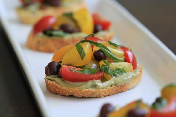 Crostini with Avocado Creme and Tomato Black Bean Salad