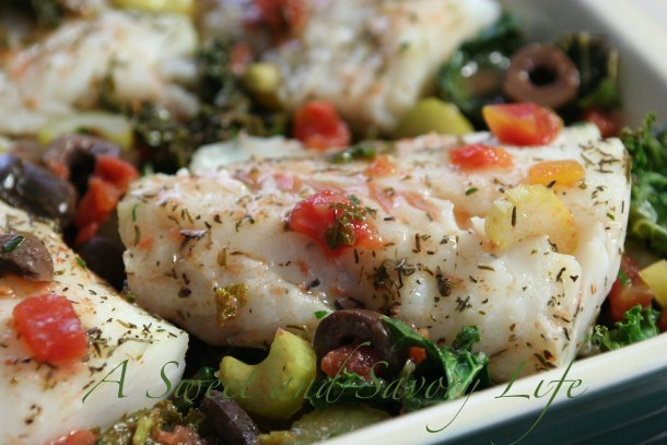Cod with Kale, Olives and Wine