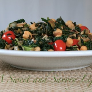 kale with Chickpeas and PIne Nuts