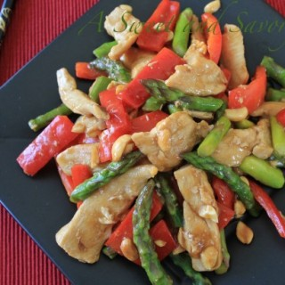 Stir Fry Orange Chicken and Asparagus with Peanuts: Superfast and Under 300 calories
