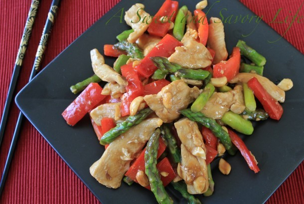 Stir Fry Orange Chicken and Asparagus with Peanuts