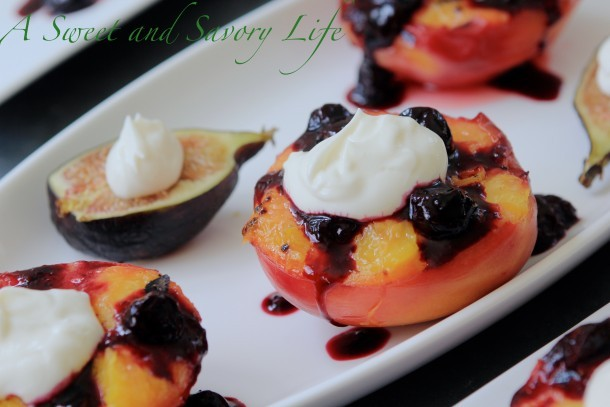 Marge Perry's Grilled Peaches with Cheesecake Creme Topping