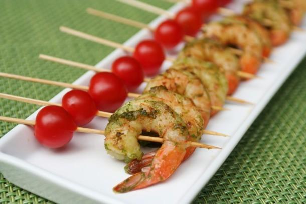 Green Shrimp Skewer