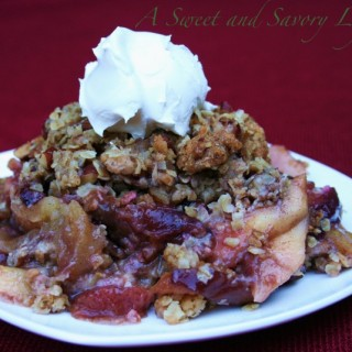 Thanksgiving with Ease: Apple Plum Crisp with Pecan Oat Topping