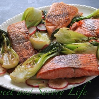 Salmon with Baby Bok Choy and Radishes (And How to Cook Wild vs Farmed Salmon)