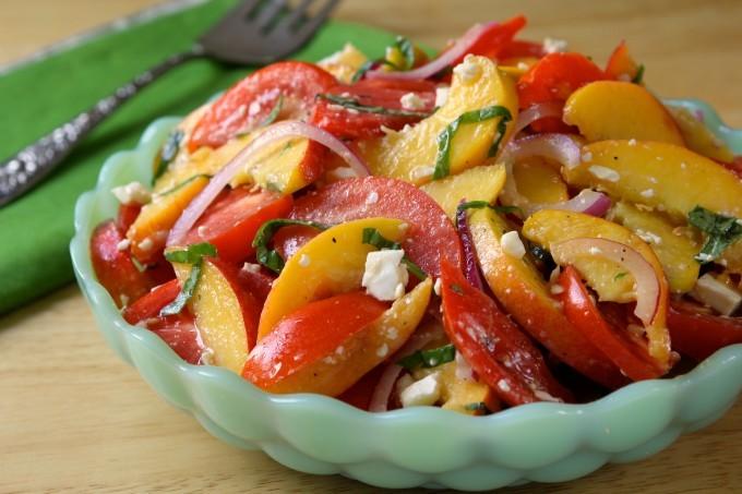 Tomato, Peach, Feta Salad