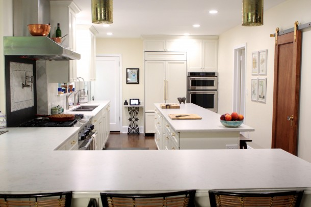 refrigerator, Wall ovens and range in the kitchen