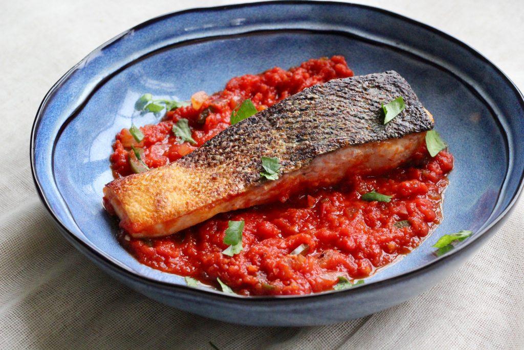 Salmon on Ginger-Jalapeno Tomato Sauce
